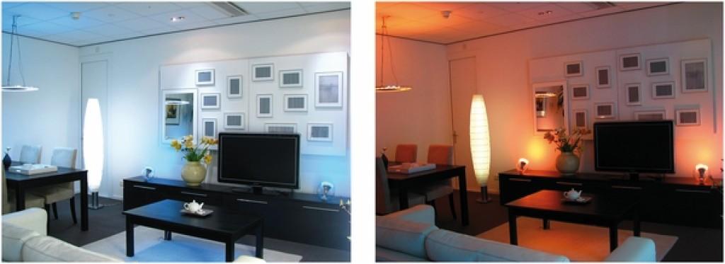 Bild 2 Aktivierende Beleuchtung (links) vs. gemütliche Beleuchtung (rechts) ([14], S. 8).