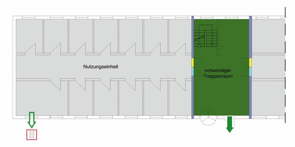 Bild 3 Nutzungseinheit mit einem baulichen Rettungsweg, zweiter Rettungsweg über Rettungsgerät.Quelle: BFT Cognos
