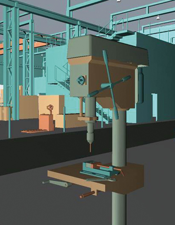 Bild 4 VR-Modelle der Säulenbohrmaschine (links) einfaches Modell, (rechts) komplexes Modell.