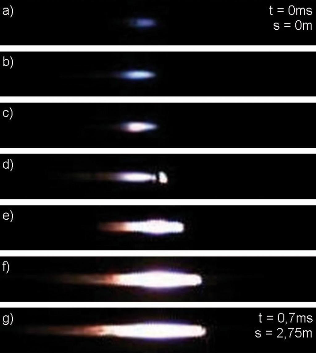Bild 4 Beispielhafte Bildsequenz zum DDT. Die Bildausschnitte sind auf die Flamme zentriert. In d) ist die Zündung vor der Flammenfront gut zu erkennen. Quelle: PTB