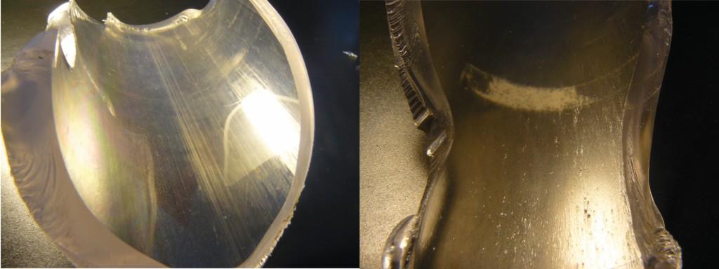 Bild 6 Rohrbruchstücke nach wenigen Versuchen (links) und nach ca. 40 Versuchen (rechts). Quelle: PTB