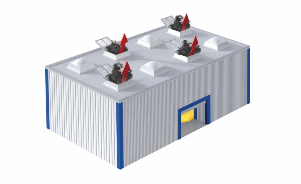 Bild 3 Rauchabzugsgeräte mit mindestens 1,5 m² Aw pro 400 m² Raumfläche. Quelle: FVLR Fachverband