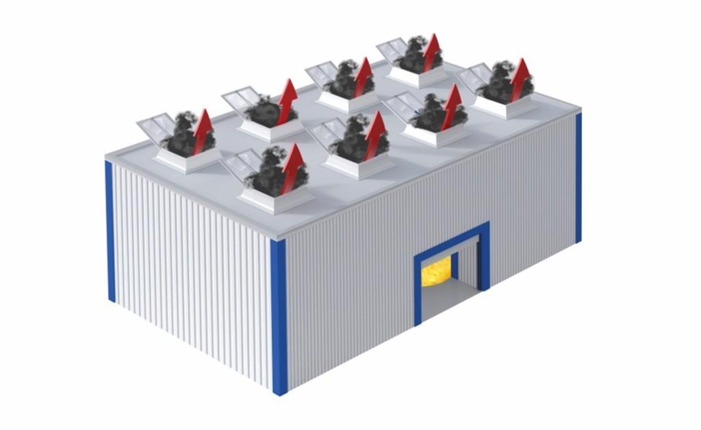 Bild 4 Rauchabzugsgeräte mit 1,5 m2 Aw pro 200 m2 Raumfläche. Quelle: FVLR Fachverband
