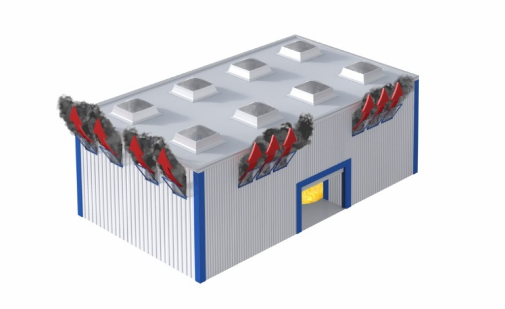 Bild 2 links: 2 % Rauchableitungsöffnung in der Wand; rechts: 1 % Rauchableitungsöffnung im Dach. Quelle: FVLR Fachverband
