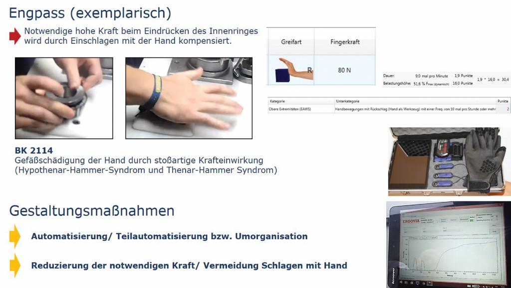 Bild 2 Bewertung mit EAWS und Messen der Fingerkräfte. Quelle: Deutsche MTM Gesellschaft mbH