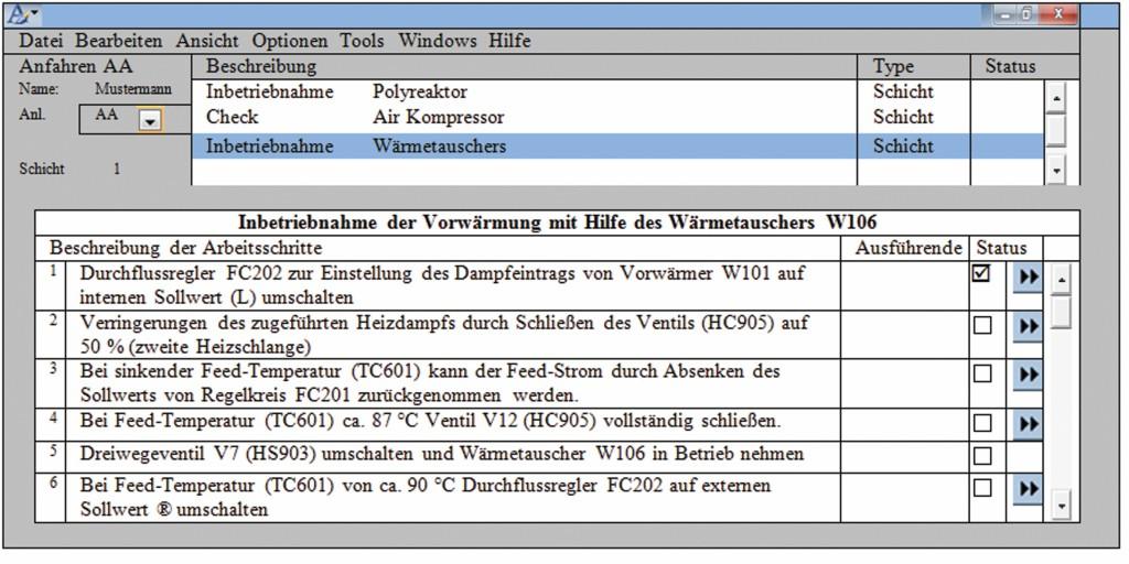 Bild 3 Beispielhafter Auszug aus einer kollaborativen prozeduralen Bildschirmanzeige nach [7] und [12]. Quelle: BAuA