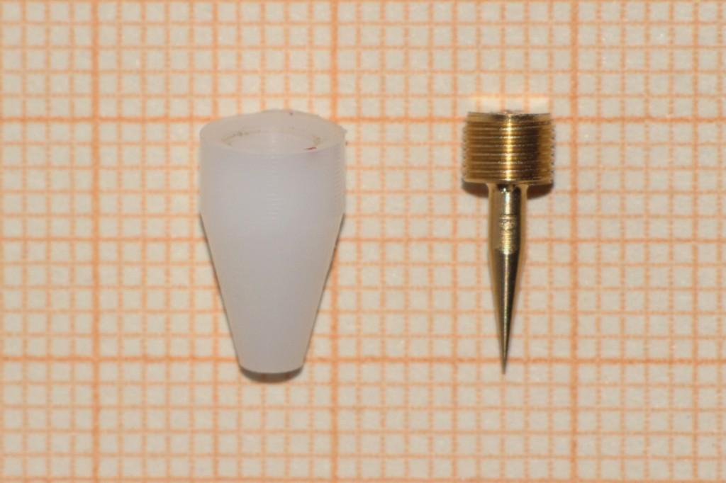 Bild 5 Demontiertes Schraubfilter (links: Grundkörper, rechts: Stellschraube) Quelle: BGHM