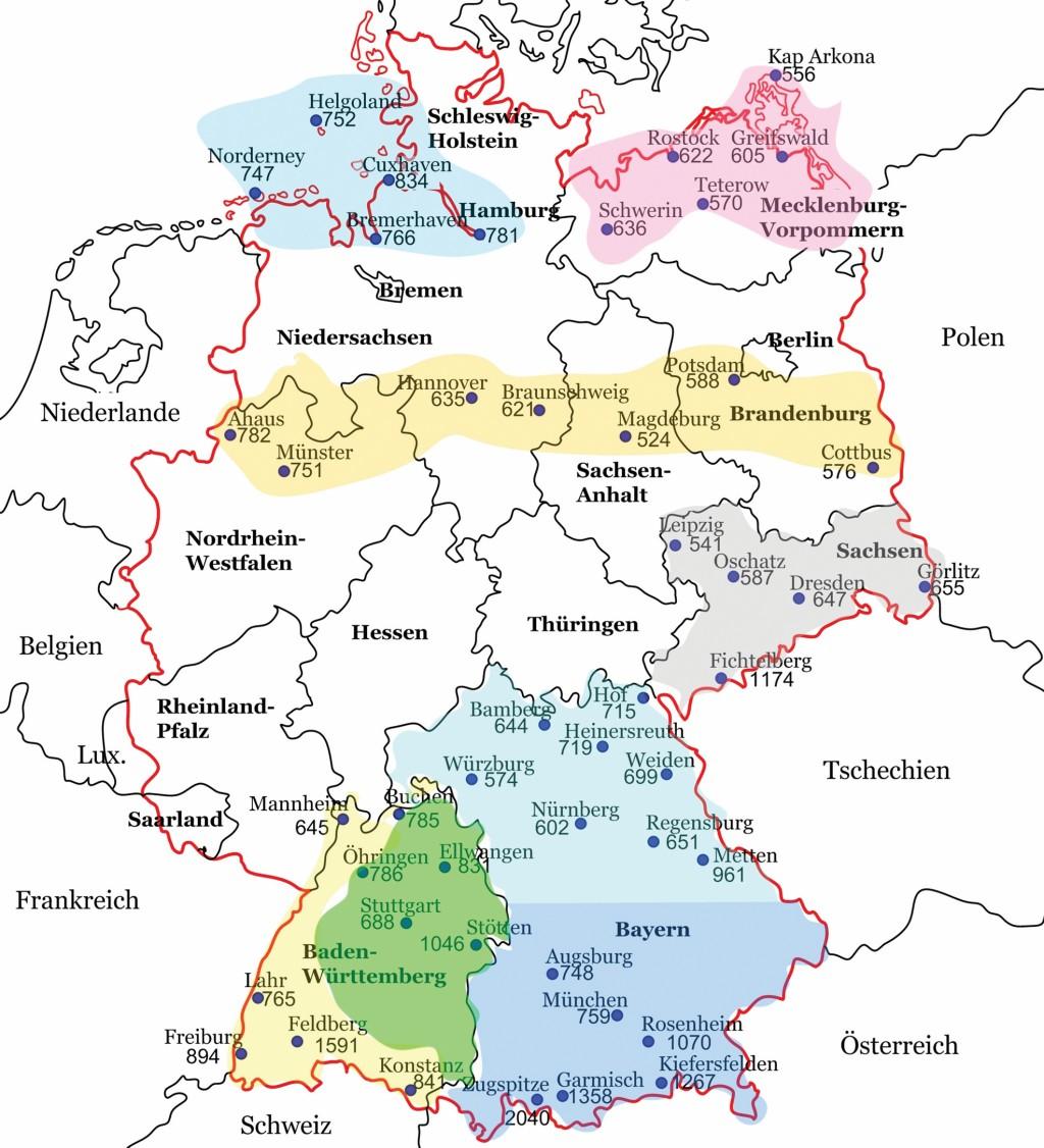 Bild 1 Ausgewählte Messstationen zum Vergleich der Niederschlagsmengen. Quelle: R. Konersmann