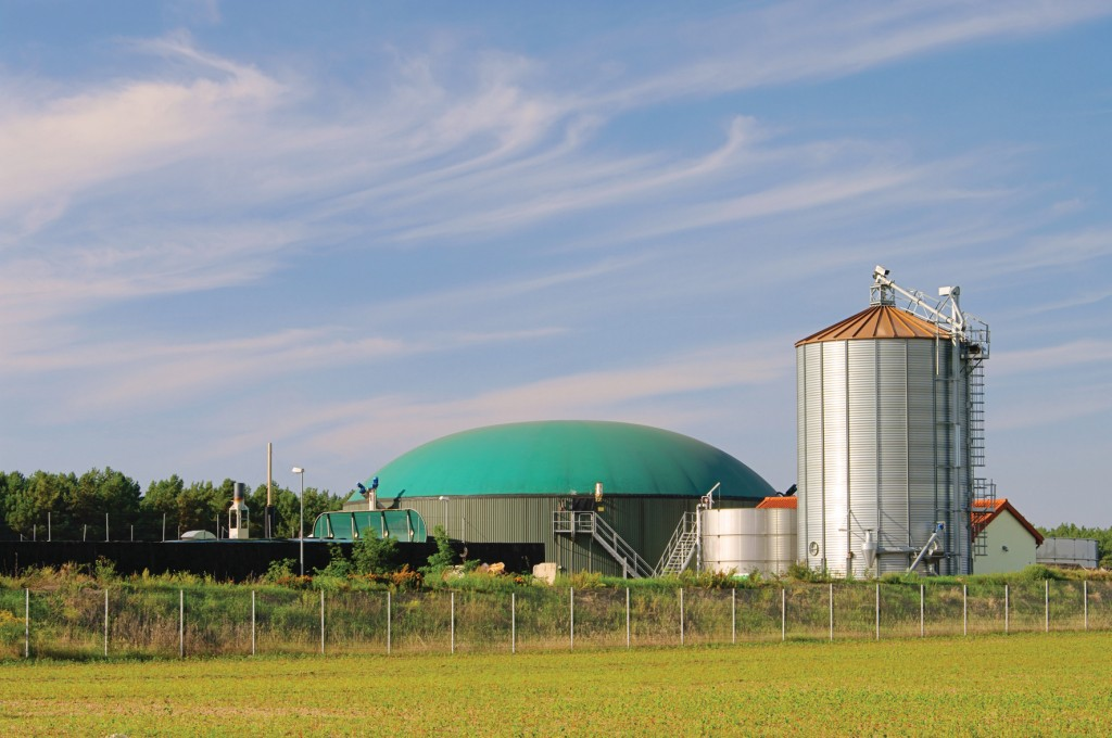 Bild 3 Standort einer Biogasanlage mit Fermenter, Silo und BHKW. Im Vordergrund ist ein Teil der Rückhaltung (bepflanzter Erdwall) inkl. Einzäunung zu erkennen. Quelle: Shutterstock