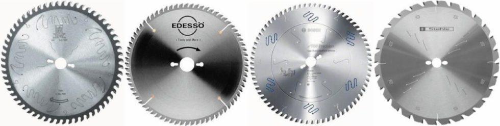 Bild 1. Geschlitzte Kreissägeblätter unterschiedlicher Anbieter: Leitz, Edessö Tools and More, Robert Bosch sowie Stehle/Ledermann (von links nach rechts). Bild: IfW