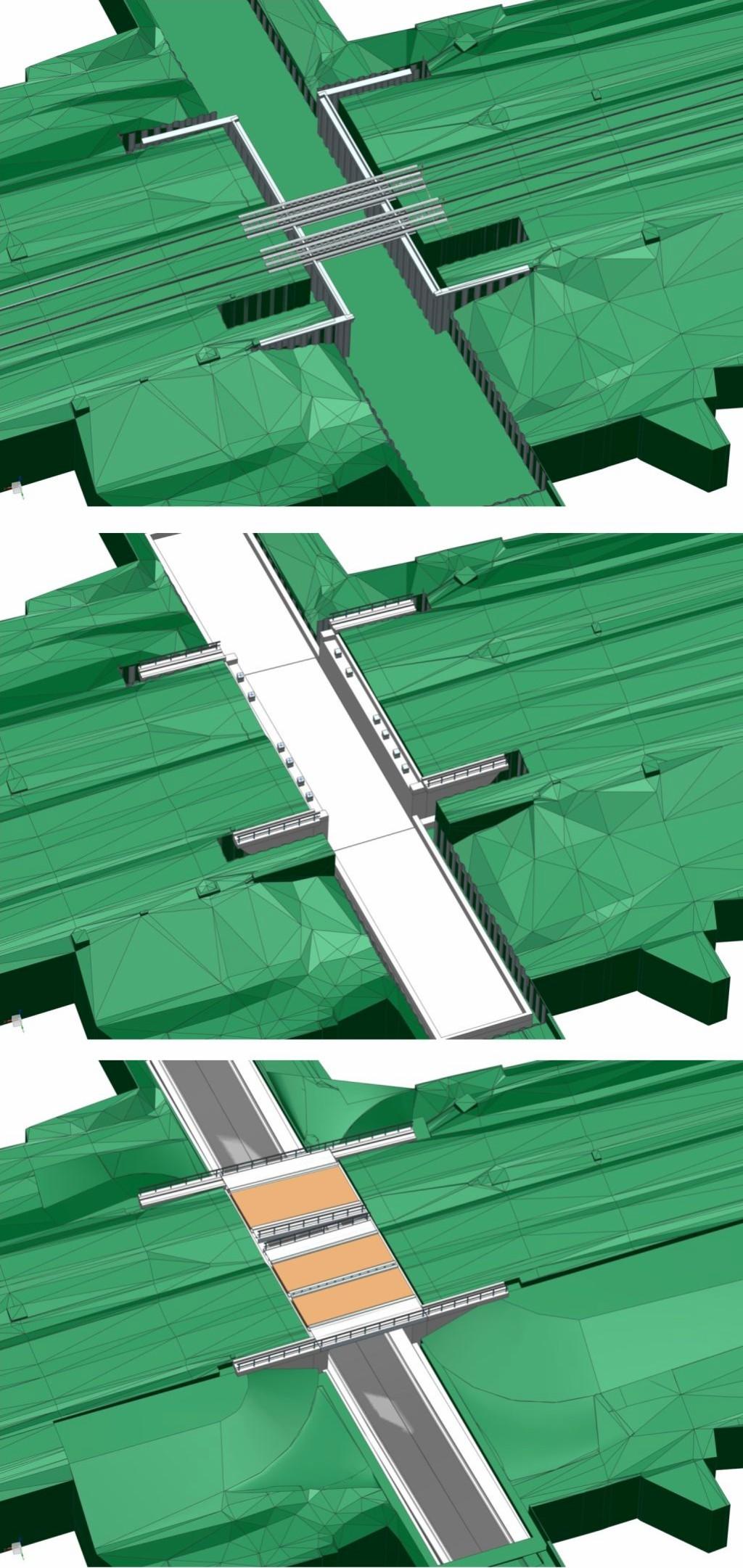 Bild 5. Beispiele für die Darstellung von Bauabläufen bei der EÜ Brodweg durch das logische Ein- und Ausblenden von Bauteilen