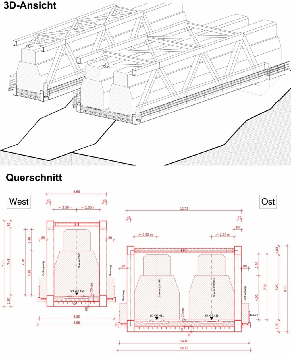 Bild 6. Querschnitt der Fachwerkbrücke in der 3D-Ansicht und in 2D beim Projekt EÜ Emscher
