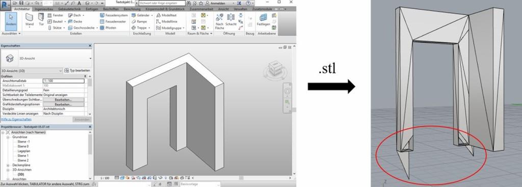 Bild 7. Fehlerhafte STL-Datei aus Autodesk Revit Abb.: Martin Krause, TU Dresden, Institut für Baubetriebswesen