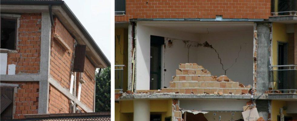 Bild 1.Schäden an Ausfachungen in Italien: Emilia Romagna (2012) und L'Aquila Abb.: [1]
