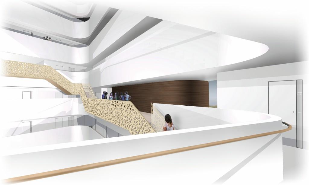 Bild 5. Rendering des Atriums mit Blick auf eine Musikbox