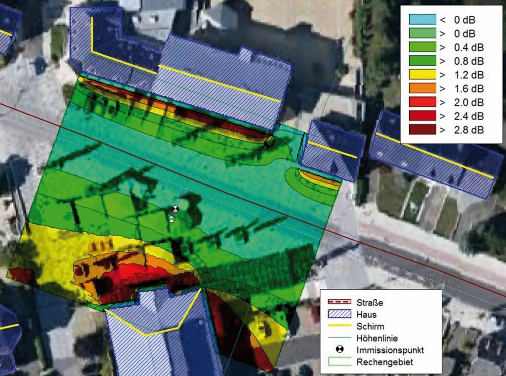 Bild 6 Draufsicht auf die Situation aus den Bildern 4 und 5, einschließlich Mikrofonposition für die SPB-Messung.