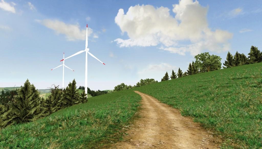 """Bild 3 Windenergielandschaft Typ """"Hügelgebiet"""", dargestellt in der Simulation """"VisAsim"""" Bild: Madeleine Manyoky und Ulrike Wissen Hayek, PLUS, ETH Zürich"""