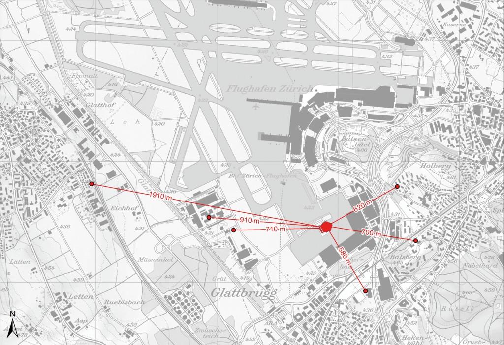 Bild 3 Lageplan der Referenzorte auf der Basis der Landeskarte der Schweiz. Die Schallschutzhalle liegt in der rechten Bildmitte. Östlich und südlich davon befinden sich bis zu 20 m hohe Werftgebäude, die zu den Wohngebieten hin einen Schallschirm bilden. Quelle: Gruner AG/ Flughafen Zürich AG
