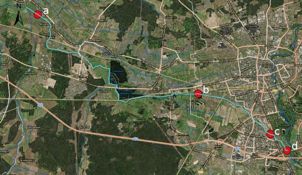Bild 1 Lage der wasserwirtschaftlichen Anlagen, a: Wehr Babow, b: Steinteichmühle, c: Priormühle, d: Einlaufbauwerk (Umgebungskarte von Cottbus, Bild: Esri und dessen Lizenzgeber).