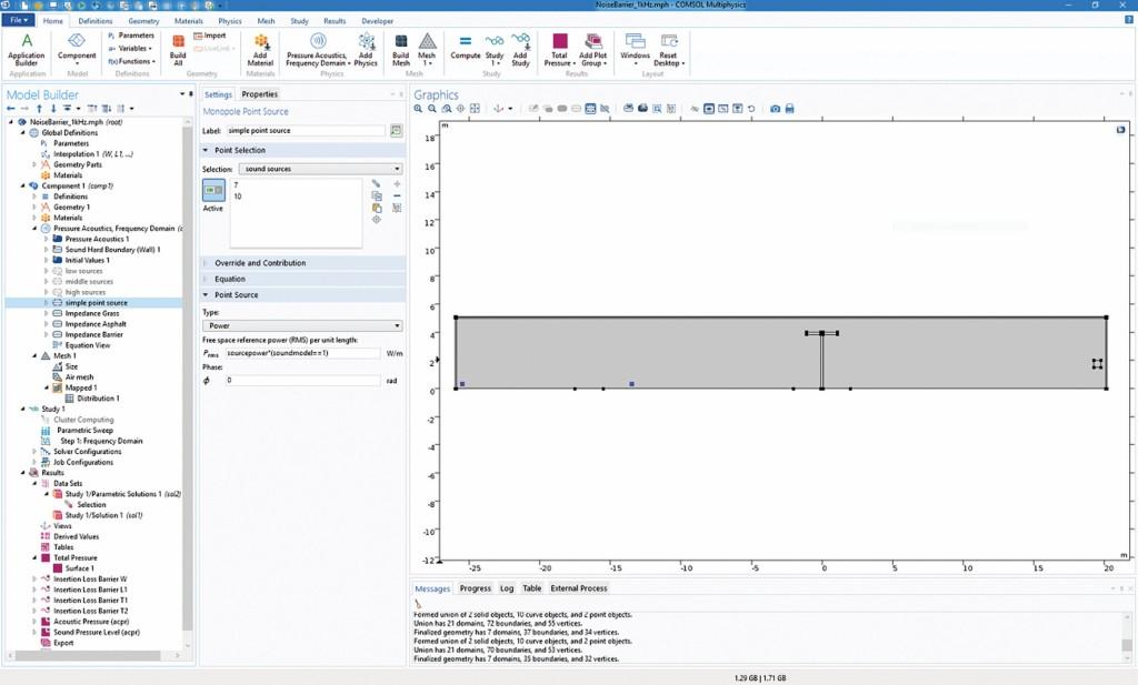 Bild 2 Einfacher Modellaufbau in COMSOL Multiphysics.