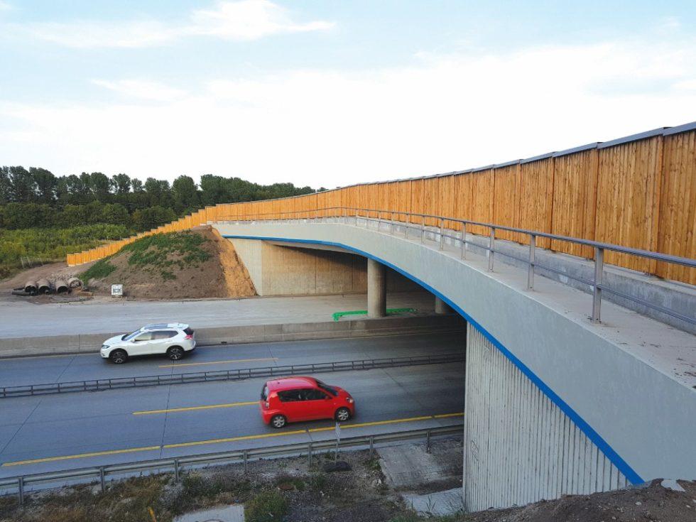 Bild 1 Irritationswand auf einer Querung der A7 bei Brokenlande.Quelle: Firma Fahlenkamp, Bruchhausen