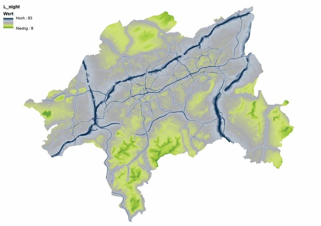 Bild 1 Straßenverkehrslärm in der Stadt Wuppertal in der Zeit von 22:00 bis 06:00 Uhr. Hinweis: Die Karte zeigt auch extrapolierte Werte an nicht kartierten Strecken. Quelle: Stadt Wuppertal, 2014, eigene Darstellung.