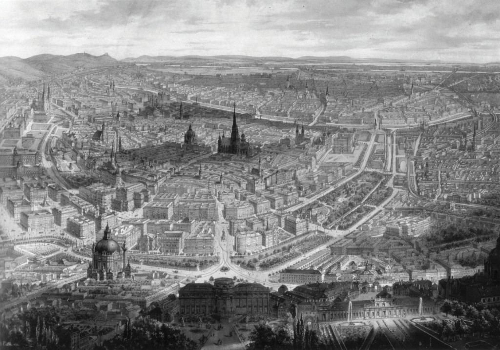 """Bild 1 Das """"Häusermeer"""" von Wien, Panorama von Gustav Veith, um 1873 Quelle: Wien Museum"""