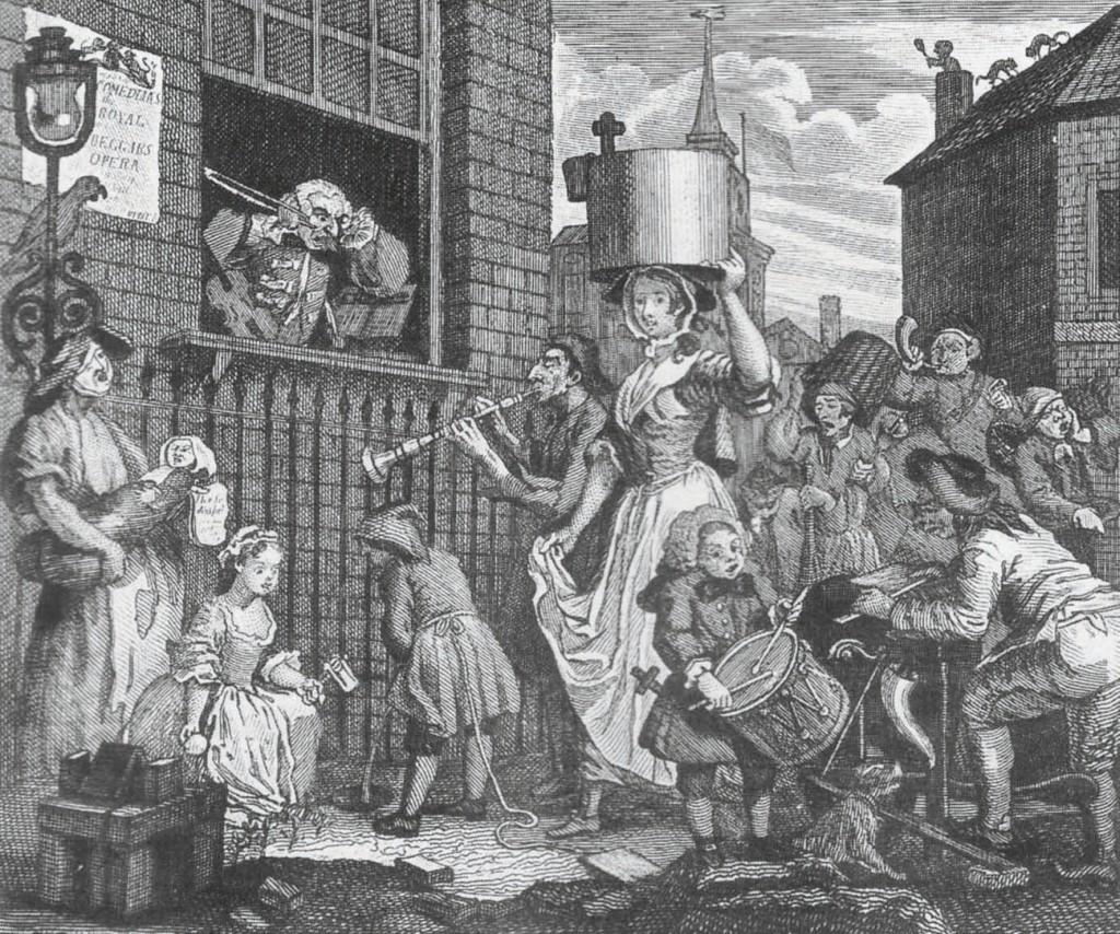 Bild 3 Lärm als Form des Protests, Karikatur von William Hogarth, 1741 Quelle: Hogarth, W.: Hogarth Moralized. London: J. Major (1831), S. 138
