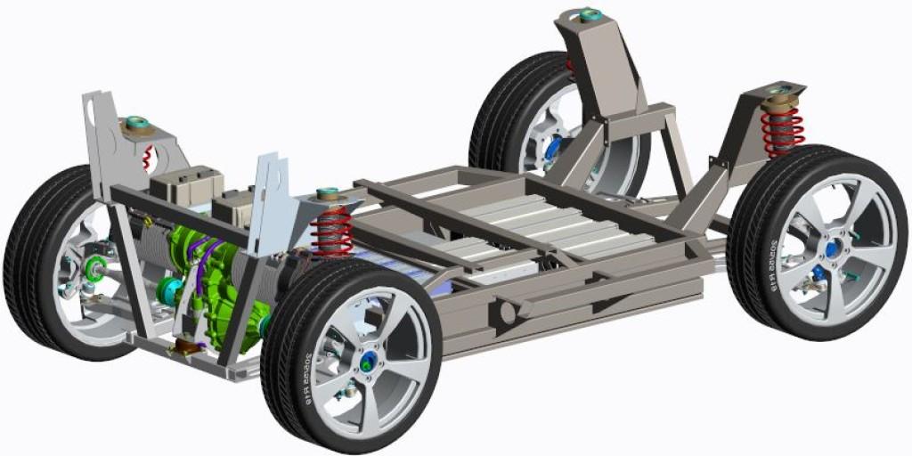 Bild 4. Prototypenentwurf eines Elektrofahrzeugchassis für die selbständige Fortbewegung in der Fahrzeug-Endmontage. Bild: e.GO Mobile AG – Rolling Chassis