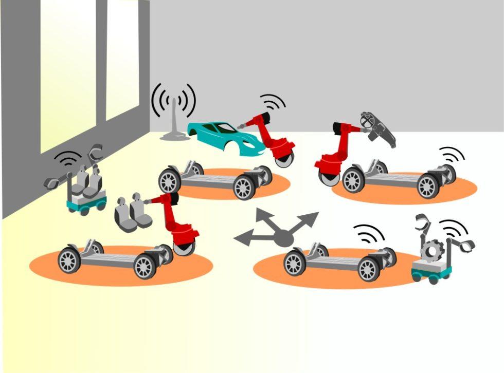 Autonom fahrende Fahrzeugchassis erlauben ein flexibles, skalierbares und investitionsarmes innerbetrieb‧liches Produktions‧netzwerk für die Endmontage von Elektrofahrzeugen. Bild: PEM, RWTH Aachen