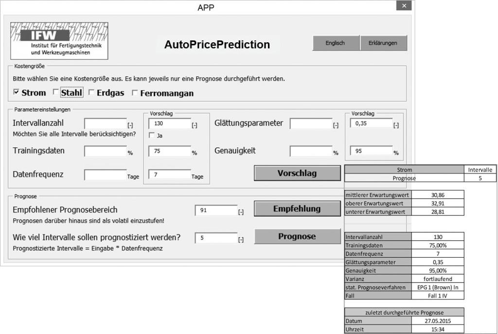 Bild 3. Eingabemaske und Ergebnisdarstellung des Softwaretools. Bild: IFW