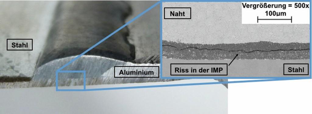 Bild 1. St-Al-Mischverbindung mit Aluminiumzusatzwerkstoff sowie Riss in der intermetallischen Phase. Bild: FEF