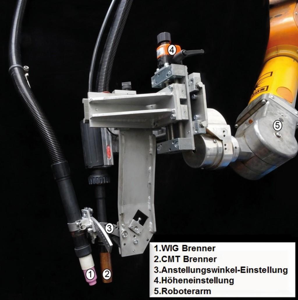 Bild 2. CMT (Cold Metal Transfer)-Brennervorrichtung für das Wolfram-Inertgas-Schweißen. Bild: FEF