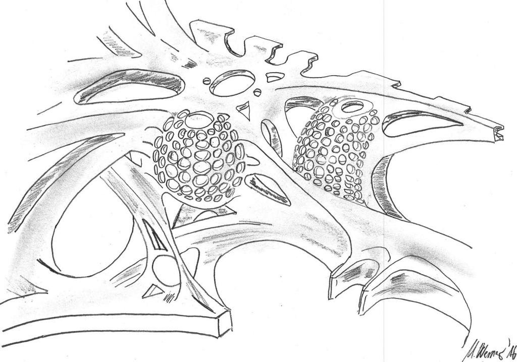 Bild 4. Auf Basis von Handskizzen wurden zunächst erste Entwürfe der Struktur erarbeitet, diese virtuell ausgelegt und die Ergebnisse der Optimierungsläufe in einem eigens für Additive Manufacturing etablierten Prozess zum Vorderwagenkonzept auskonstruiert. Bild: csi