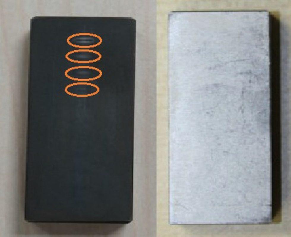 Bild 1. Versuch zur Schleifbandprüfung mittels Wirbelstrom: links ist ein geätztes Schleifbrandnormal zu sehen, rechts ein nicht geätztes Schleifbrandnormal. Bild: FHWS