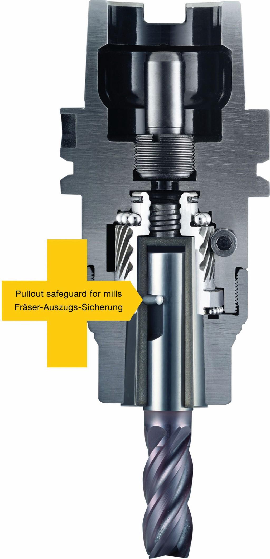 Bild 1. Der radiale Sicherungsstift in der Weldon-Spannfläche verhindert das Herausziehen des Fräsers. Bild: Albrecht