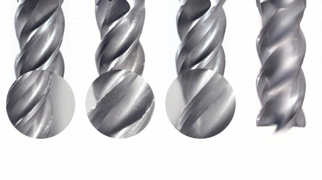 Bild 3. Verschleißmerkmale aus Anwender-Versuchen: Weldon-, Schrumpf- und Hydrodehnspannfutter sowie Albrecht-APC-Futter (v.l.n.r.). Bild: Albrecht