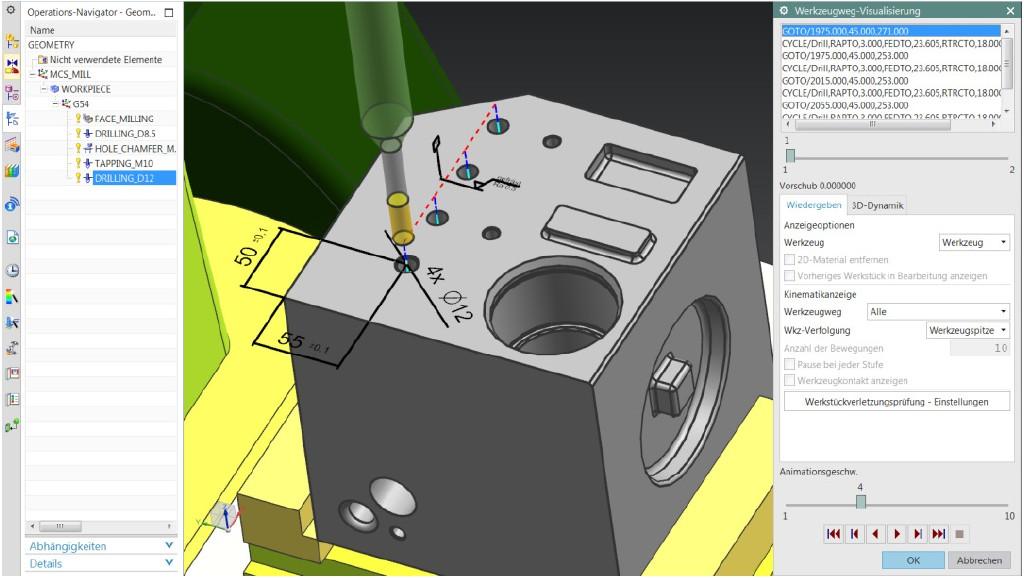"""Bild 4. Beispiel für die Planung eines Bearbeitungsvorgangs für ein Feature in der Software """"NX CAM"""", wobei die im CAM-Modell hinterlegten Geometrie- und Informationselemente wie Informationsfeatures verwendet werden. Bild: Siemens"""