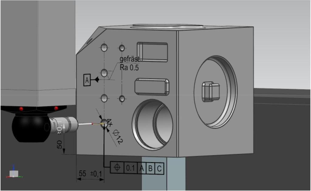 Bild 6. Messgeräteprogrammierung für das Testbauteil mit Verwendung der im 3D-Mastermodell hinterlegten Geometrie- und Informationselemente wie Informationsfeatures (PMIs). Bild: Siemens