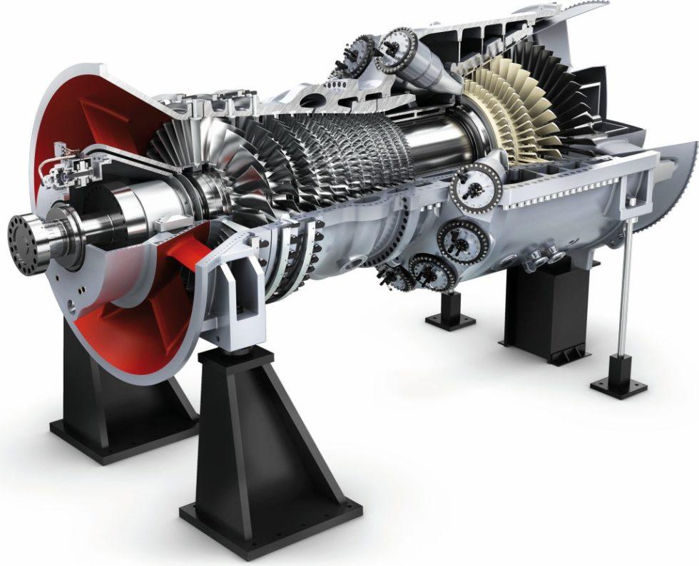 """Schematische Darstellung einer Siemens-Gasturbine aus der neuen Baureihe der """"HL""""-Klasse. Bild: Siemens"""