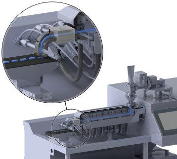 Konzept für den Einsatz des 3D-Drucks in der pharmazeutischen Produktion: Im Schmelzextruder (rechts) werden die Ausgangssubstanzen aufgeschmolzen und mit dem Drucksystem (links) in Tablettenform gebracht. Foto: TH Köln