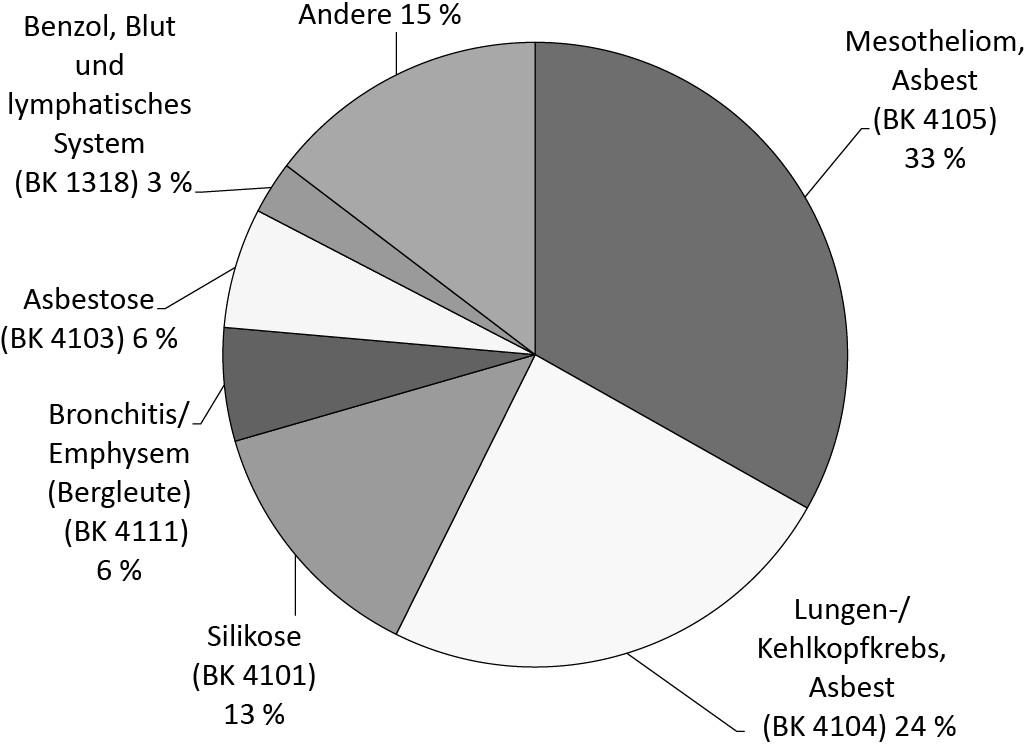 Bild 3. Übersicht über Todesfälle infolge einer Berufskrankheit im Jahr 2014 (in %) [1].