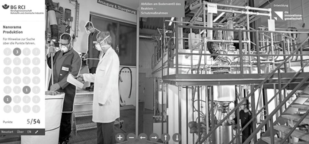 """Bild 3. Auf dem Nano-Portal der DGUV """"Sicheres Arbeiten mit Nanomaterialien"""" stehen neben vielen Informationen zu Nanomaterial auch sogenannte Nanoramen zur Verfügung. Neben den Nanoramen zu den Themen Baustelle, Kfz-Werkstatt, Laboratorium und Textilherstellung gibt es auch ein Nanorama zur Produktion, mit Hinweisen zu Schutzmaßnahmen, z. B. für Tätigkeiten mit pulvrigem Nanomaterial oder bei dessen Lagerung. Quelle: IFA"""