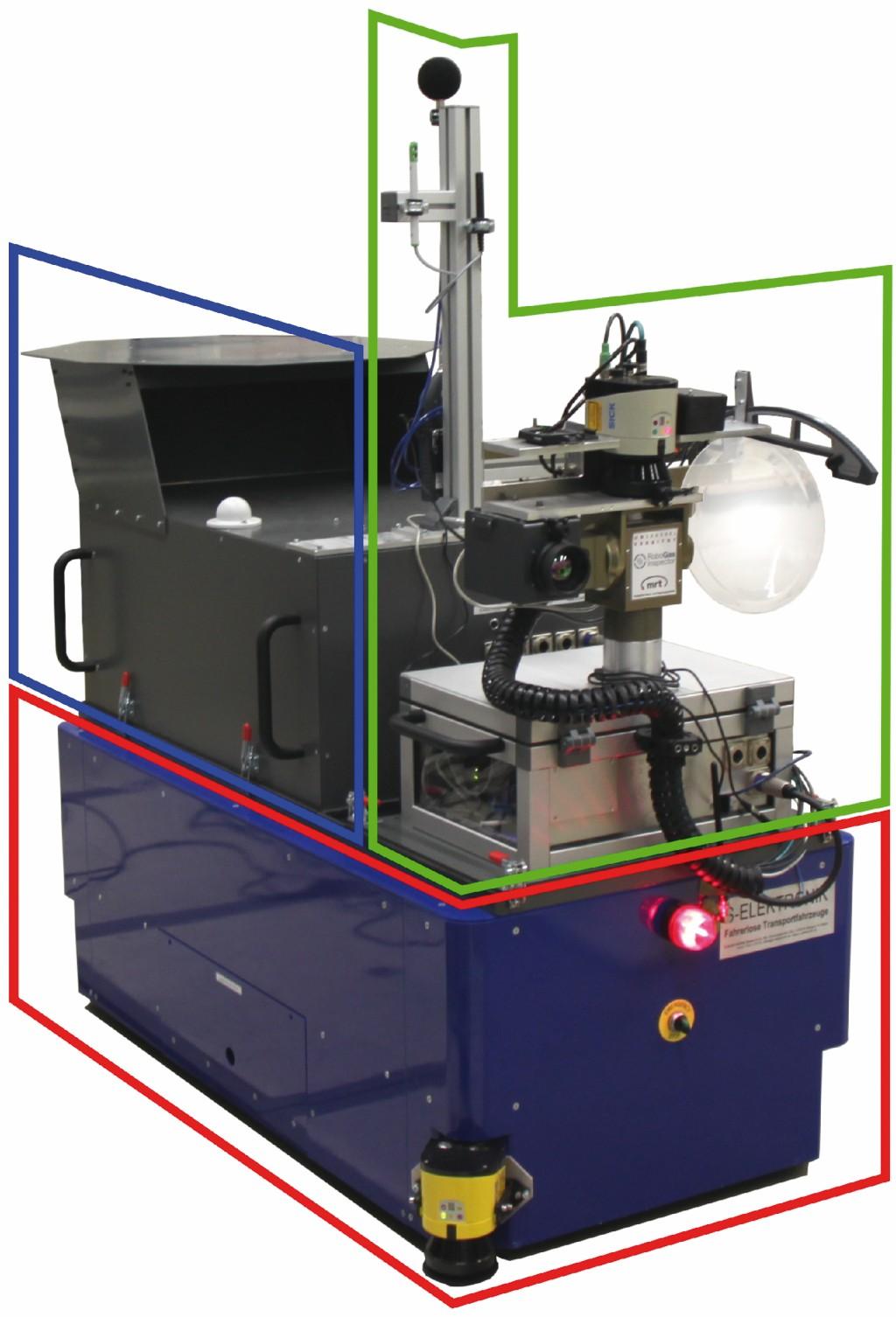 Bild 1 Bodenroboter auf Basis eines fahrerlosen Transportsystems (rot umrandet) mit gelbem Laserscanner, darauf Autonomiemodul (blau umrandet) und Multisensor-Modul mit Messsäule (grün umrandet). Quelle: Uni Kassel /Fraunhofer FKIE