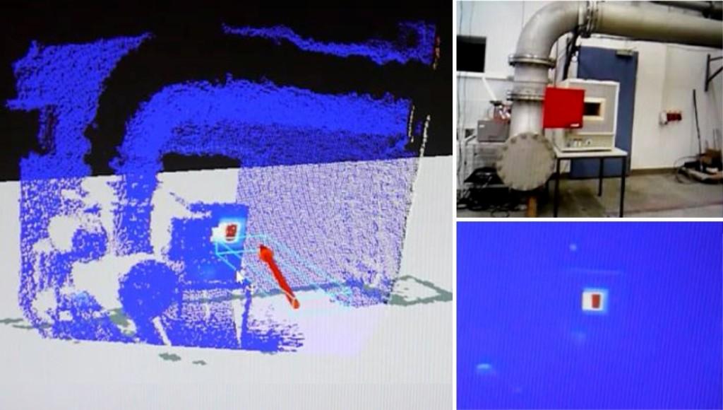 Bild 10 Ansicht des Entwicklers während der Erstellung eines 3-D-Thermogramms eines Prozessofens mit texturierter Punktwolke (links), Videobild (rechts oben) und 2-D-Thermogramm (rechts unten). Quelle: Uni Kassel /Fraunhofer FKIE
