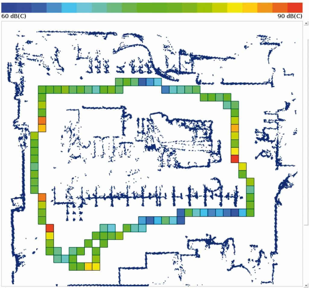 Bild 11 Ausschnitt der Dokumentationsansicht der Benutzungsschnittstelle mit Kataster der Spitzenschalldruckpegel in einfacher Farbkodierung zwischen Minimal- und Maximalmesswert. Quelle: Uni Kassel /Fraunhofer FKIE