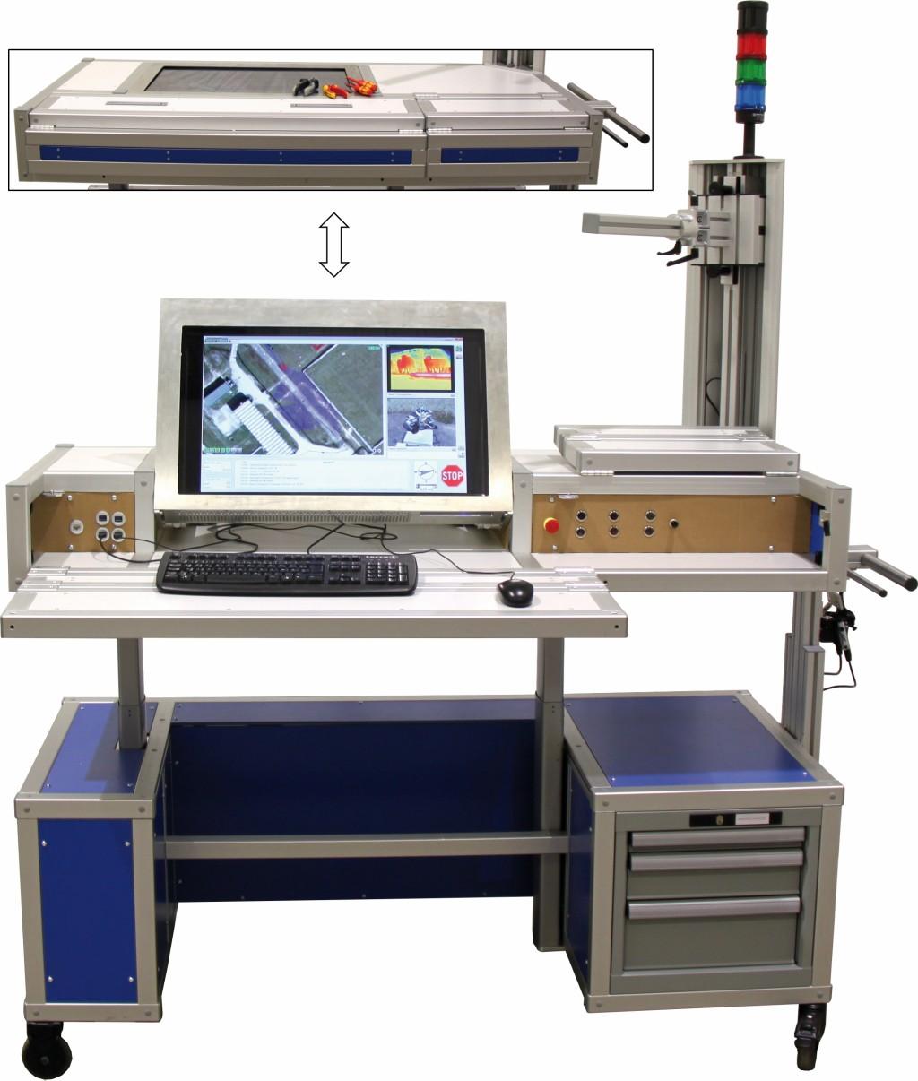 Bild 6 Mobiler Leitstand einsetzbar als Bildschirm- und als Montagearbeitsplatz. Quelle: Uni Kassel /Fraunhofer FKIE