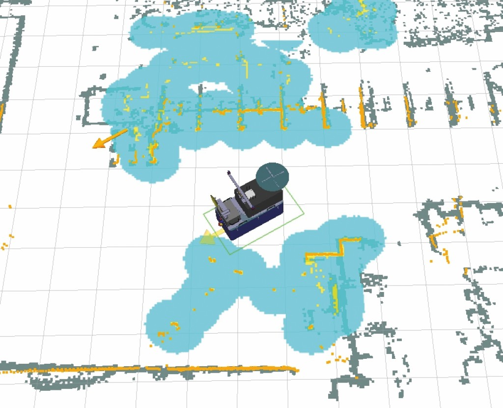 Bild 7 Umgebungsinformationen des autonomen Navigationssystems des Bodenroboters mit a priori aufgenommener Karte (grau mit weißem Hintergrund), aktuell detektierten Hindernissen (orange), daraus resultierenden Sicherheitsabstandszonen (cyan) und durch die Lokalisierung festgestellter Ausrichtung und Position des Bodenroboters (Robotermodell). Quelle: Uni Kassel /Fraunhofer FKIE
