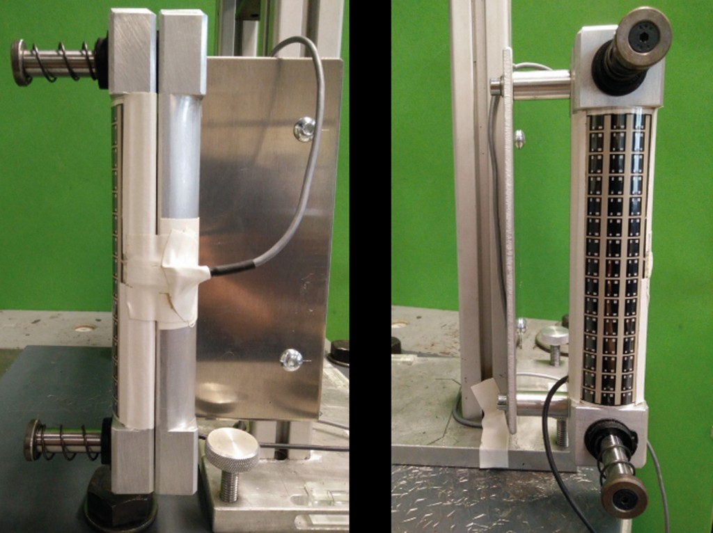 Bild 5 Seitenansicht und Draufsicht des instrumentierten Referenzgriffs zum Vergleich beider Messsysteme. Quelle: DGUV