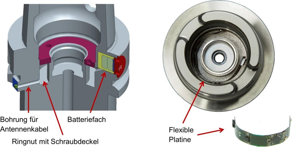 In den Werkzeughalter integrierte Mikroelektronik Bild: PTW, TU Darmstadt